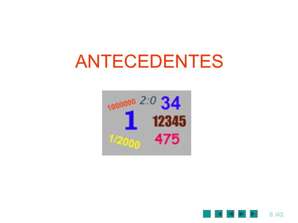 7/42 Antecedentes Generación de Números pseudoaleatorios.