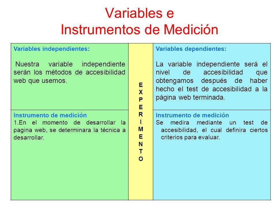 Variables e Instrumentos de Medición Variables independientes: Nuestra variable independiente serán los métodos de accesibilidad web que usemos. EXPER