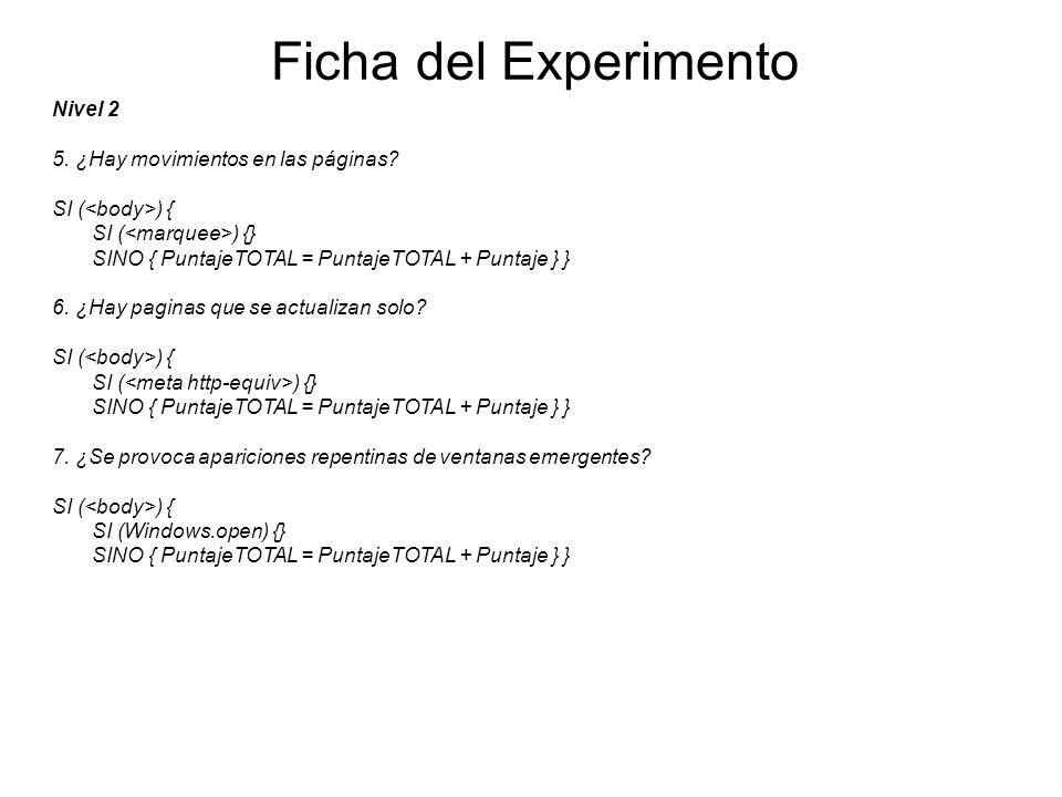 Ficha del Experimento Nivel 2 5. ¿Hay movimientos en las páginas? SI ( ) { SI ( ) {} SINO { PuntajeTOTAL = PuntajeTOTAL + Puntaje } } 6. ¿Hay paginas