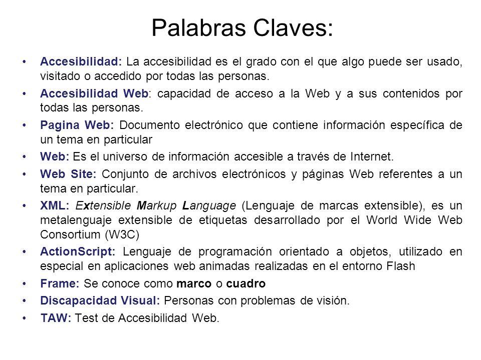 Palabras Claves: Accesibilidad: La accesibilidad es el grado con el que algo puede ser usado, visitado o accedido por todas las personas. Accesibilida