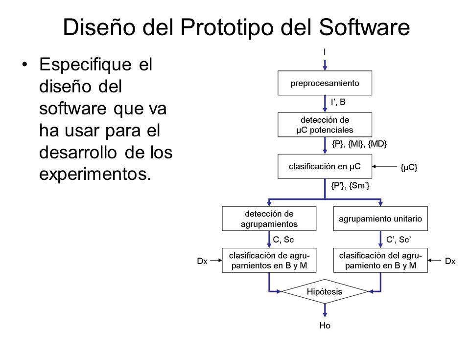 Diseño del Prototipo del Software Especifique el diseño del software que va ha usar para el desarrollo de los experimentos.