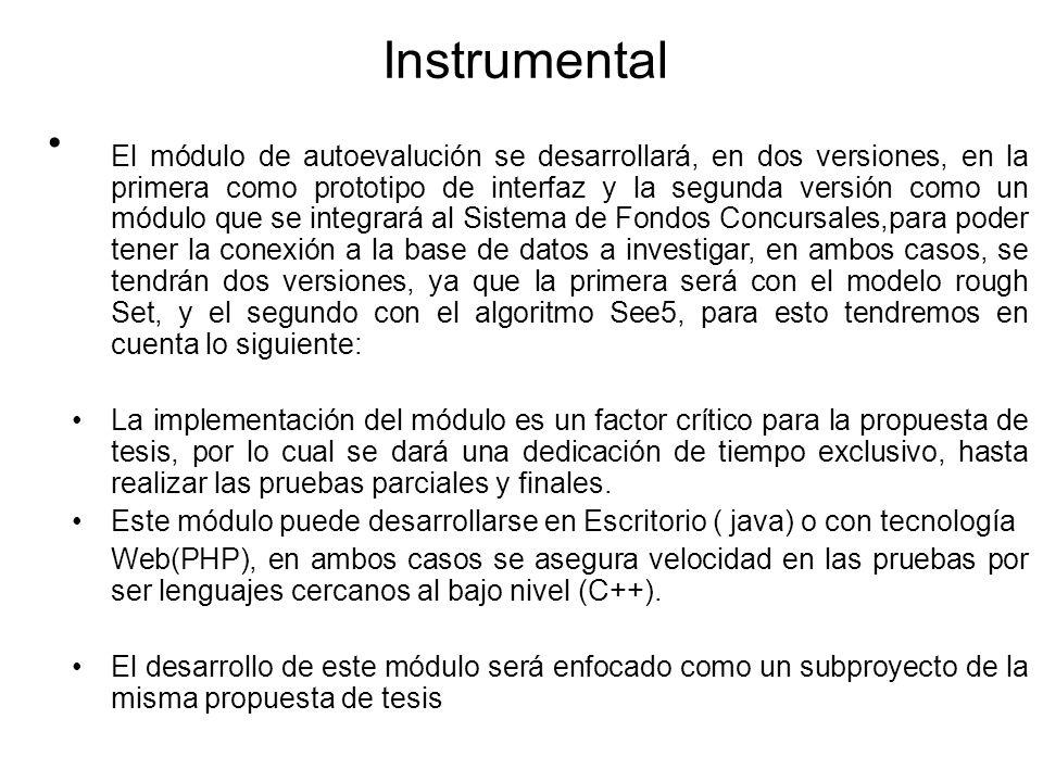 Instrumental El módulo de autoevalución se desarrollará, en dos versiones, en la primera como prototipo de interfaz y la segunda versión como un módul