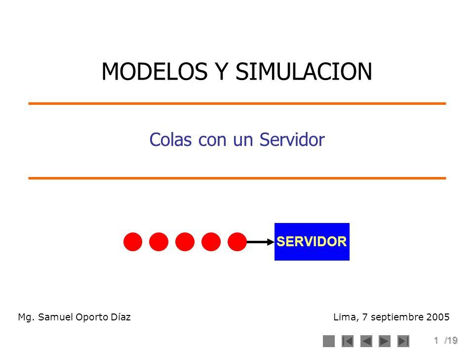 1/19 Colas con un Servidor Lima, 7 septiembre 2005 MODELOS Y SIMULACION Mg. Samuel Oporto Díaz SERVIDOR