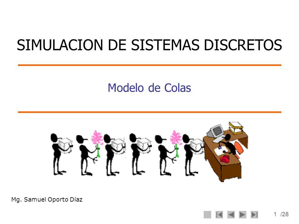 1/28 Modelo de Colas SIMULACION DE SISTEMAS DISCRETOS Mg. Samuel Oporto Díaz