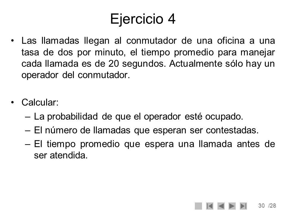 30/28 Ejercicio 4 Las llamadas llegan al conmutador de una oficina a una tasa de dos por minuto, el tiempo promedio para manejar cada llamada es de 20