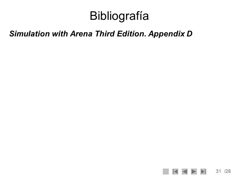 31/28 Bibliografía Simulation with Arena Third Edition. Appendix D