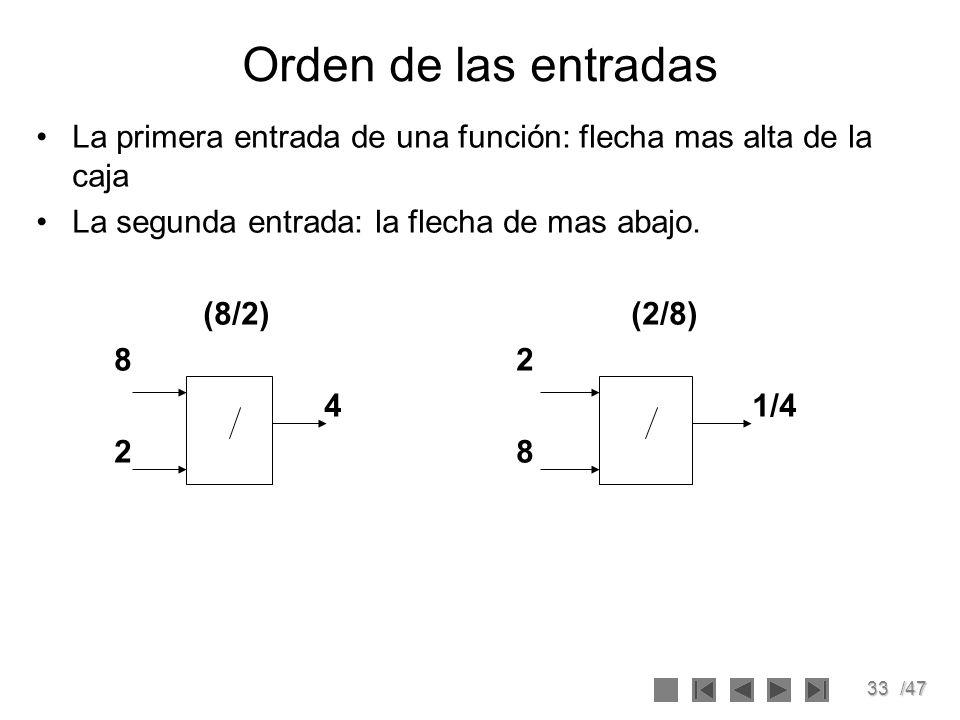 33/47 Orden de las entradas La primera entrada de una función: flecha mas alta de la caja La segunda entrada: la flecha de mas abajo. (8/2) (2/8) 82 4