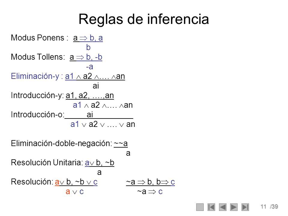 11/39 Reglas de inferencia Modus Ponens : a b, a b Modus Tollens: a b, -b -a Eliminación-y : a1 a2 ….