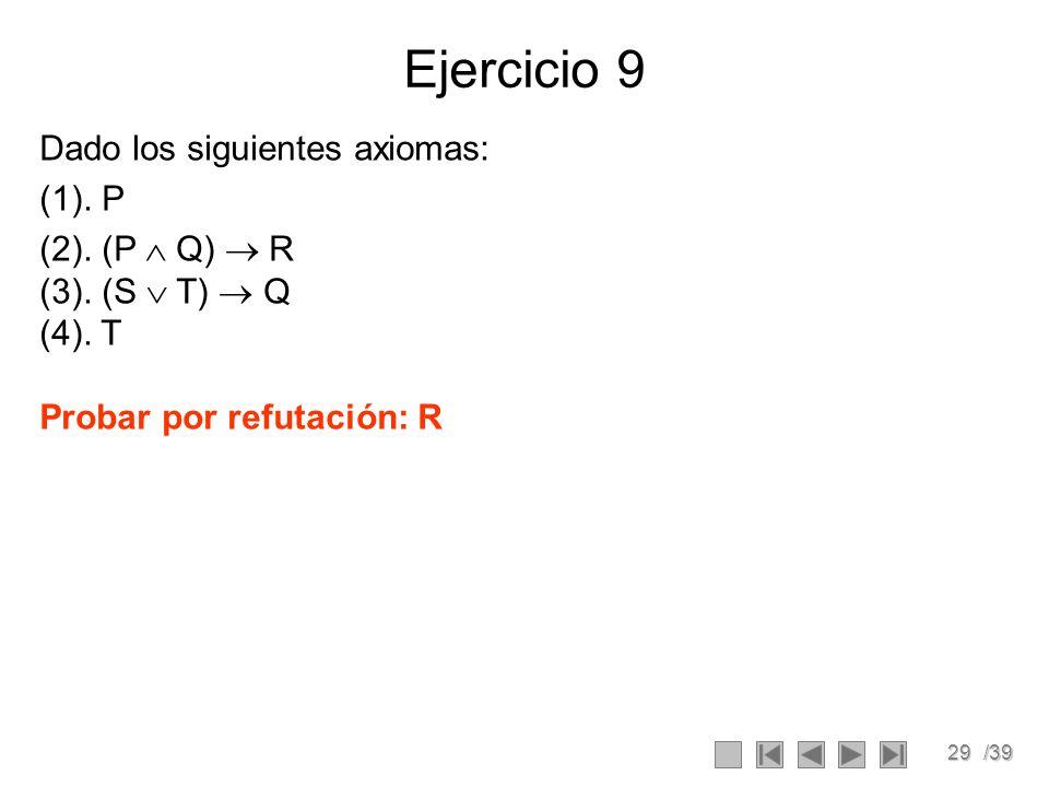 29/39 Ejercicio 9 Dado los siguientes axiomas: (1).