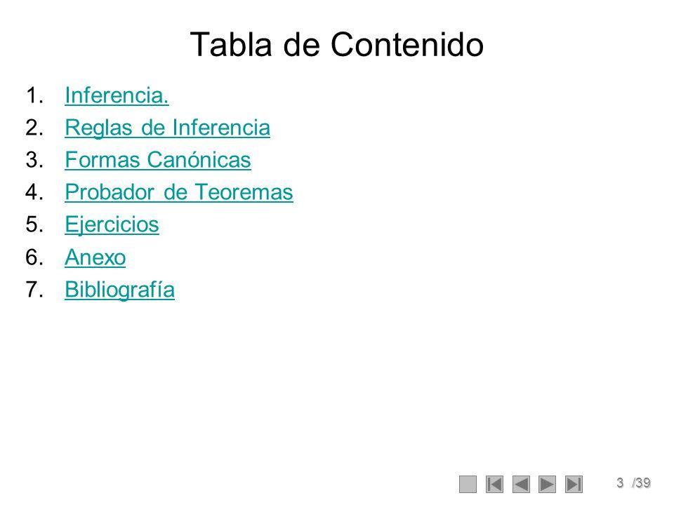 3/39 Tabla de Contenido 1.Inferencia.Inferencia.