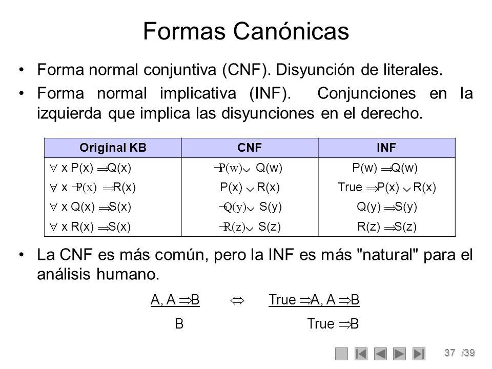 37/39 Formas Canónicas Forma normal conjuntiva (CNF).