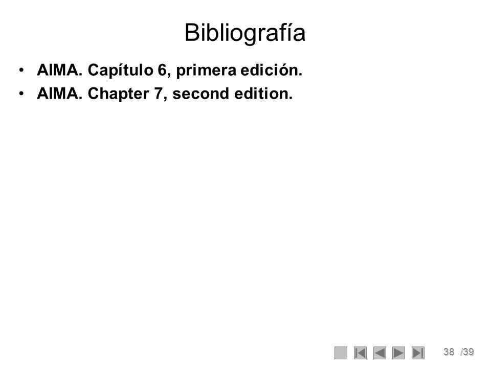 38/39 Bibliografía AIMA. Capítulo 6, primera edición. AIMA. Chapter 7, second edition.