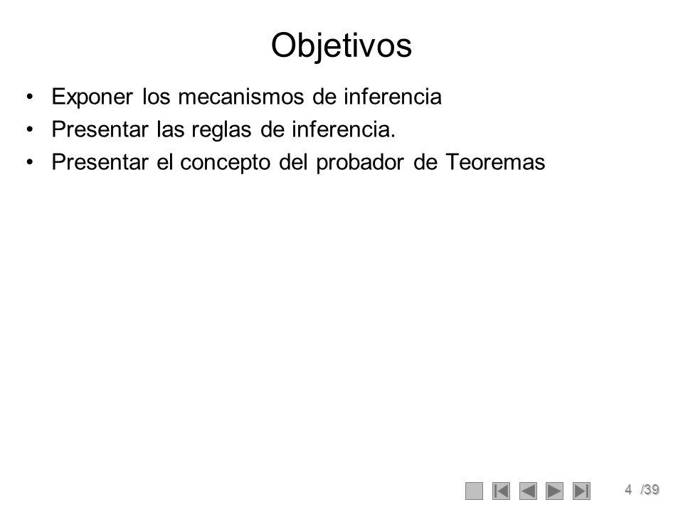 4/39 Objetivos Exponer los mecanismos de inferencia Presentar las reglas de inferencia.