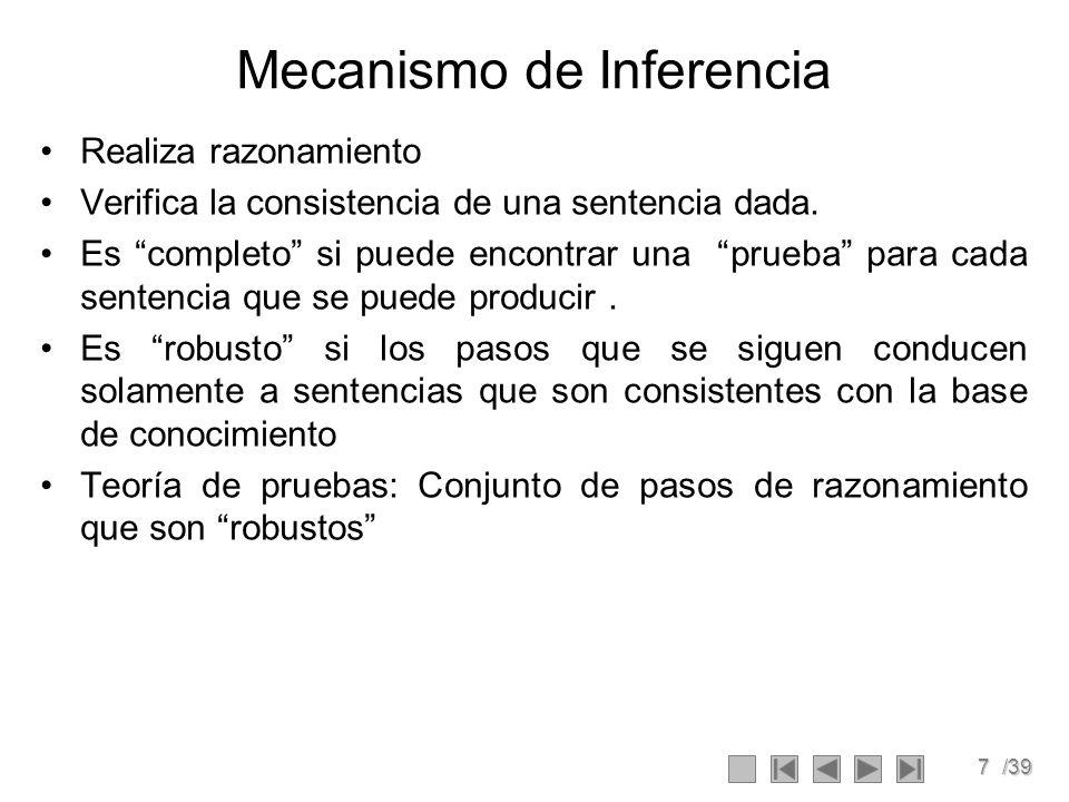 7/39 Mecanismo de Inferencia Realiza razonamiento Verifica la consistencia de una sentencia dada.