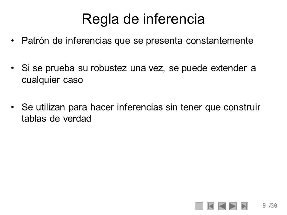 9/39 Regla de inferencia Patrón de inferencias que se presenta constantemente Si se prueba su robustez una vez, se puede extender a cualquier caso Se utilizan para hacer inferencias sin tener que construir tablas de verdad