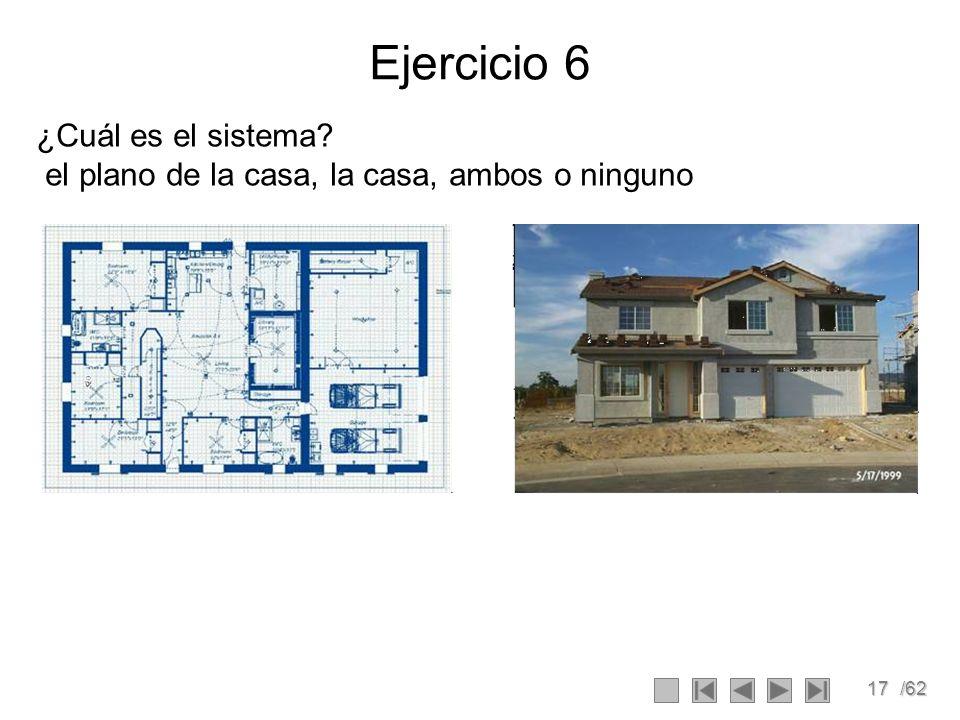 17/62 Ejercicio 6 ¿Cuál es el sistema? el plano de la casa, la casa, ambos o ninguno
