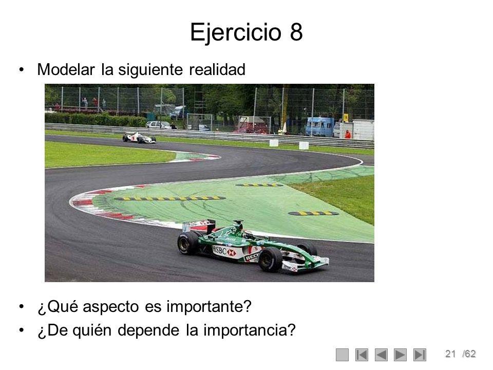 21/62 Ejercicio 8 Modelar la siguiente realidad ¿Qué aspecto es importante? ¿De quién depende la importancia?