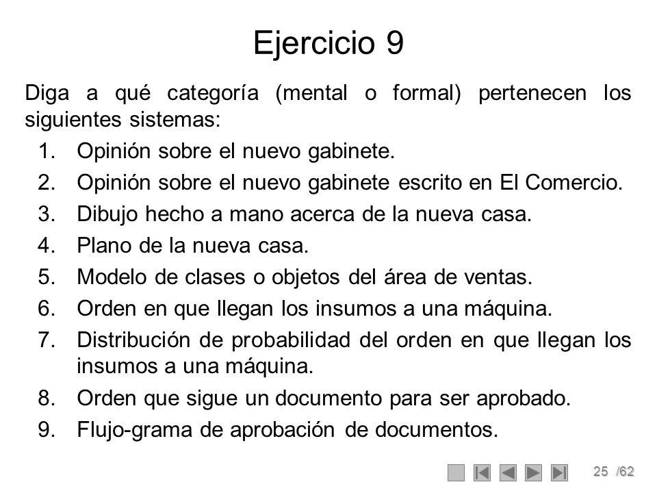 25/62 Ejercicio 9 Diga a qué categoría (mental o formal) pertenecen los siguientes sistemas: 1.Opinión sobre el nuevo gabinete. 2.Opinión sobre el nue
