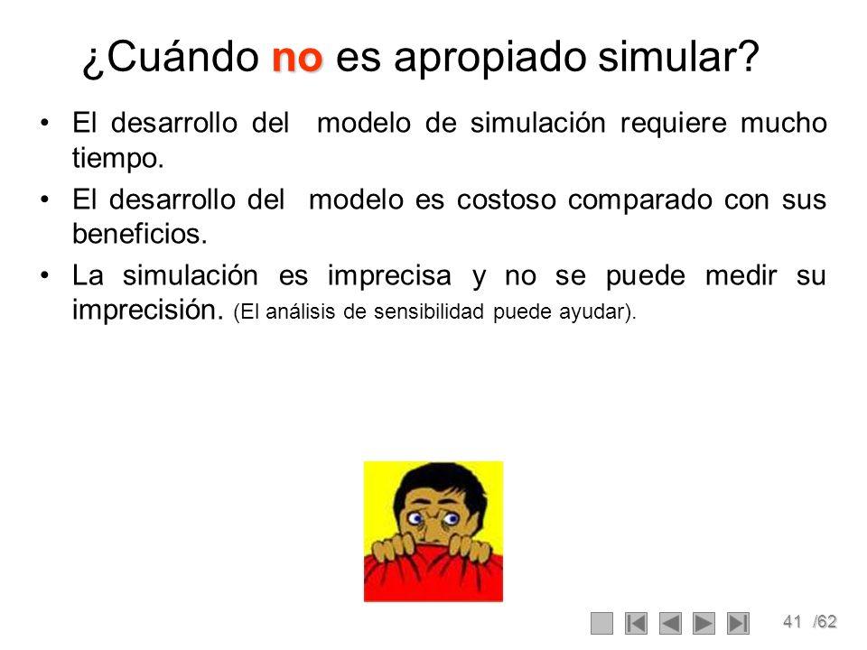 41/62 no ¿Cuándo no es apropiado simular? El desarrollo del modelo de simulación requiere mucho tiempo. El desarrollo del modelo es costoso comparado