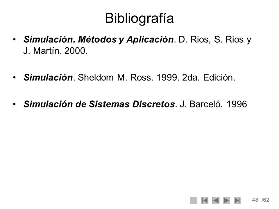 48/62 Bibliografía Simulación. Métodos y Aplicación. D. Rios, S. Rios y J. Martín. 2000. Simulación. Sheldom M. Ross. 1999. 2da. Edición. Simulación d