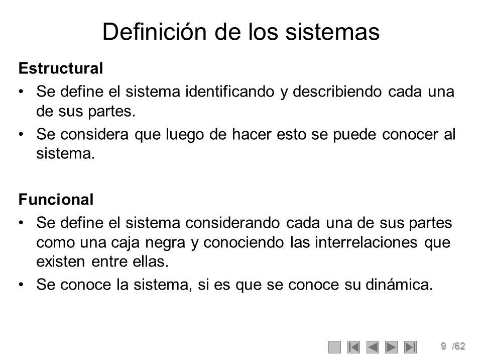9/62 Definición de los sistemas Estructural Se define el sistema identificando y describiendo cada una de sus partes. Se considera que luego de hacer