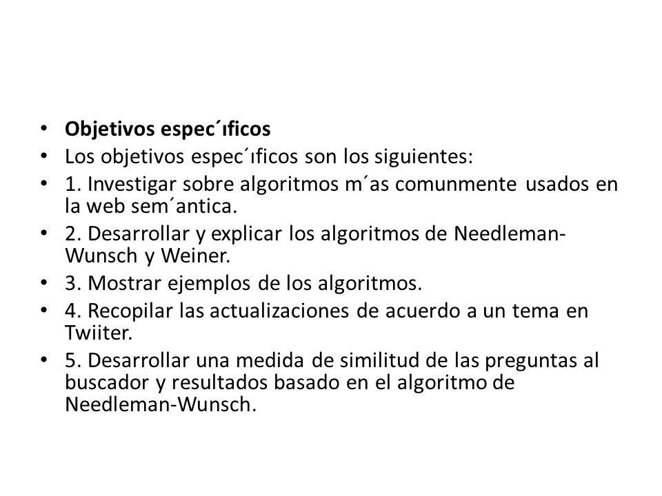 Objetivos espec´ıficos Los objetivos espec´ıficos son los siguientes: 1. Investigar sobre algoritmos m´as comunmente usados en la web sem´antica. 2. D