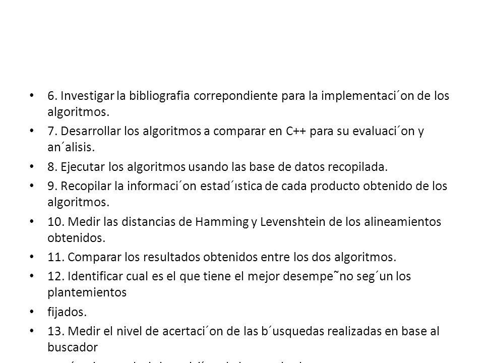 6. Investigar la bibliografia correpondiente para la implementaci´on de los algoritmos. 7. Desarrollar los algoritmos a comparar en C++ para su evalua