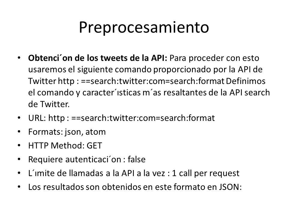 Preprocesamiento Obtenci´on de los tweets de la API: Para proceder con esto usaremos el siguiente comando proporcionado por la API de Twitter http : =