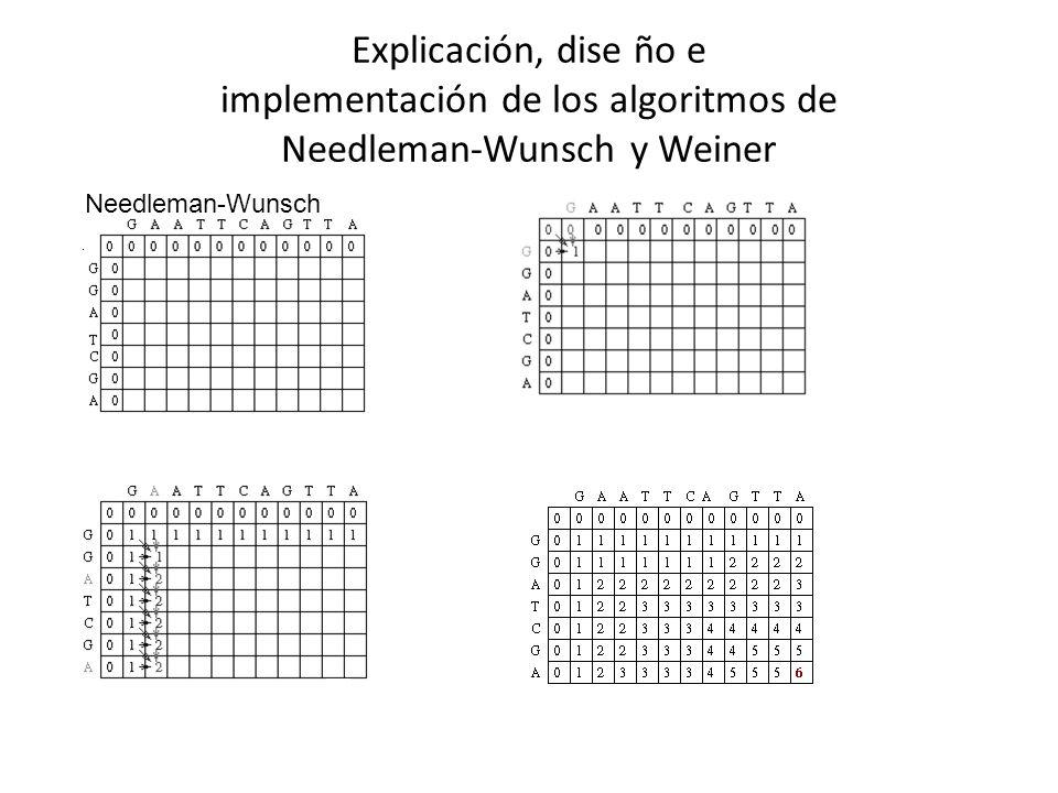 Explicación, dise ño e implementación de los algoritmos de Needleman-Wunsch y Weiner Needleman-Wunsch