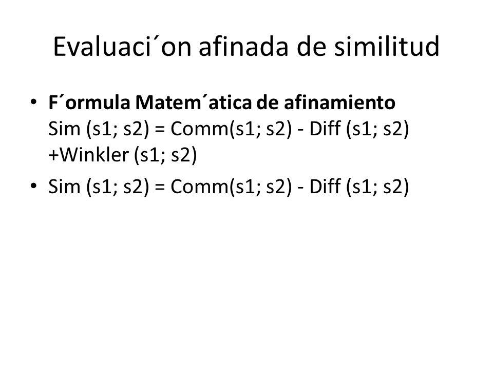 Evaluaci´on afinada de similitud F´ormula Matem´atica de afinamiento Sim (s1; s2) = Comm(s1; s2) - Diff (s1; s2) +Winkler (s1; s2) Sim (s1; s2) = Comm