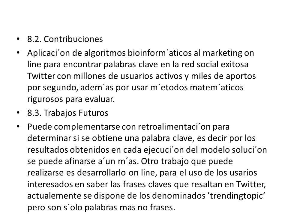 8.2. Contribuciones Aplicaci´on de algoritmos bioinform´aticos al marketing on line para encontrar palabras clave en la red social exitosa Twitter con