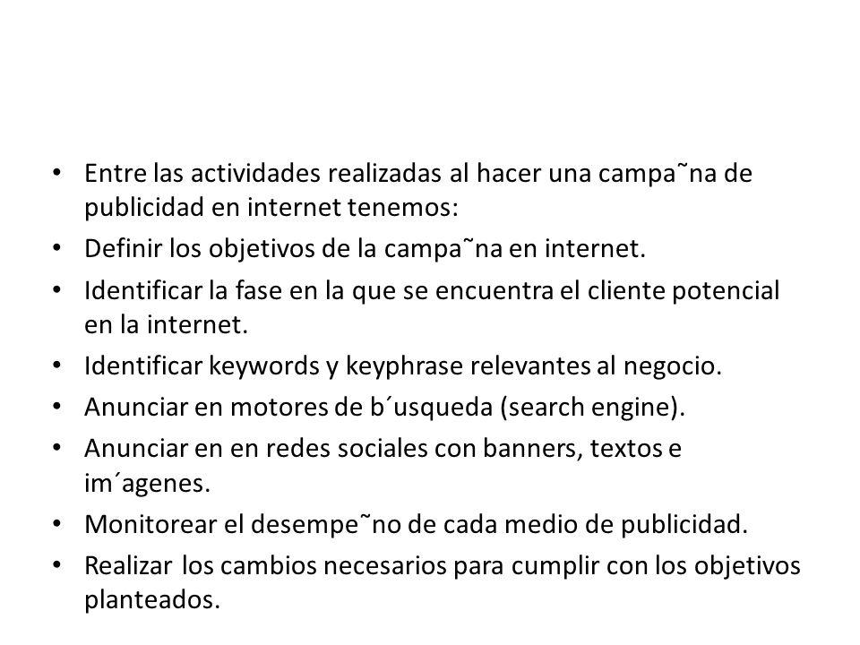Entre las actividades realizadas al hacer una campa˜na de publicidad en internet tenemos: Definir los objetivos de la campa˜na en internet. Identifica