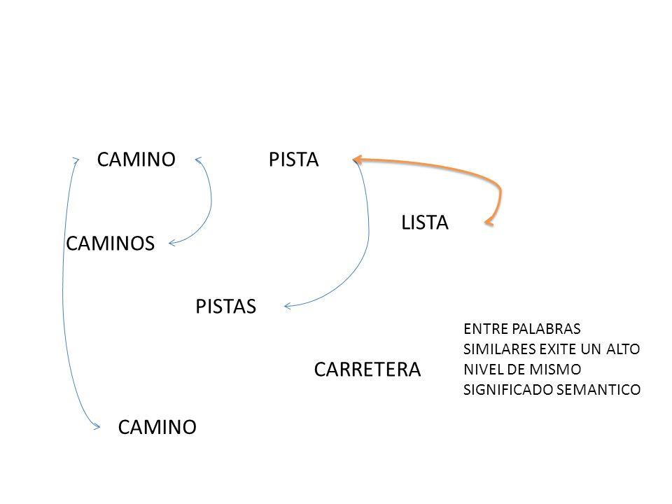CAMINO CAMINOS PISTAS PISTA CAMINO CARRETERA LISTA ENTRE PALABRAS SIMILARES EXITE UN ALTO NIVEL DE MISMO SIGNIFICADO SEMANTICO