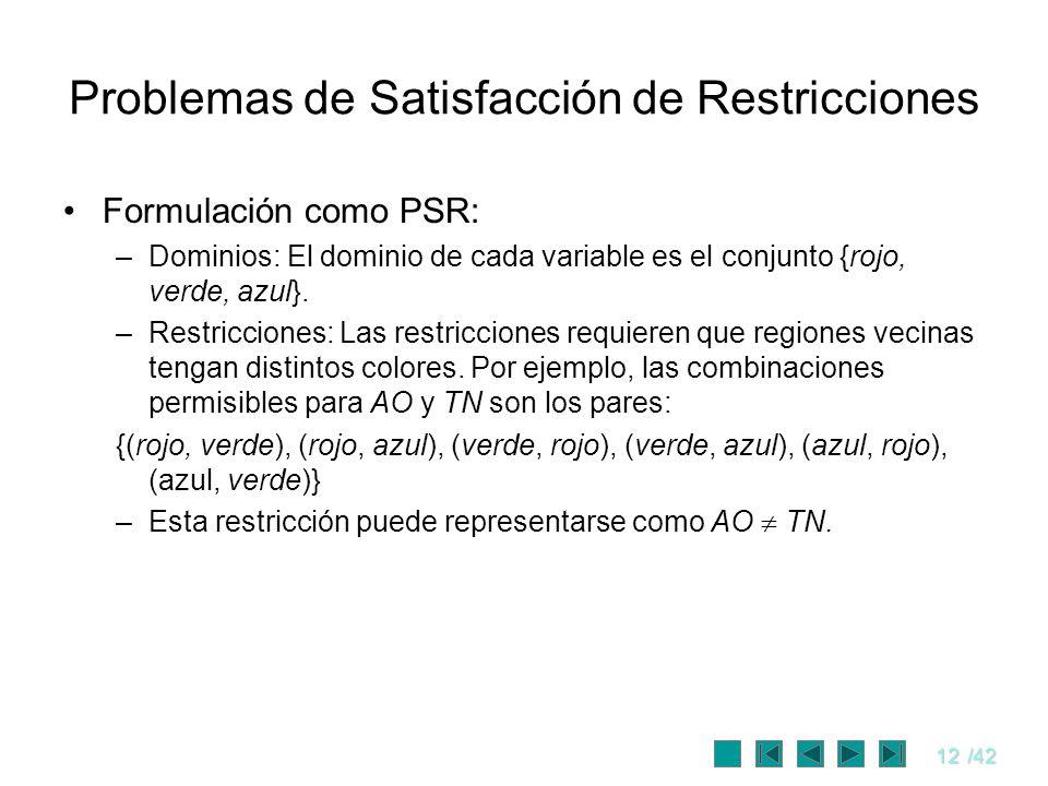 12/42 Problemas de Satisfacción de Restricciones Formulación como PSR: –Dominios: El dominio de cada variable es el conjunto {rojo, verde, azul}. –Res