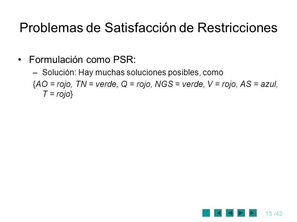 13/42 Problemas de Satisfacción de Restricciones Formulación como PSR: –Solución: Hay muchas soluciones posibles, como {AO = rojo, TN = verde, Q = roj