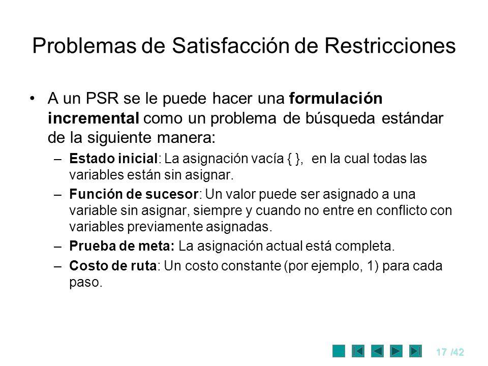 17/42 Problemas de Satisfacción de Restricciones A un PSR se le puede hacer una formulación incremental como un problema de búsqueda estándar de la si