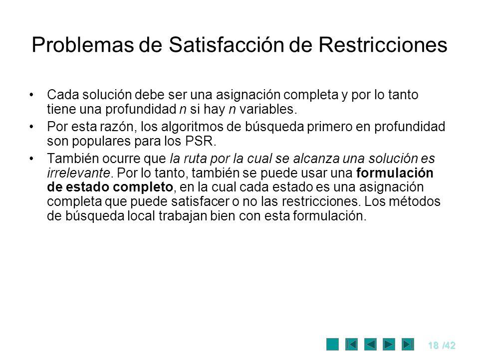 18/42 Problemas de Satisfacción de Restricciones Cada solución debe ser una asignación completa y por lo tanto tiene una profundidad n si hay n variab