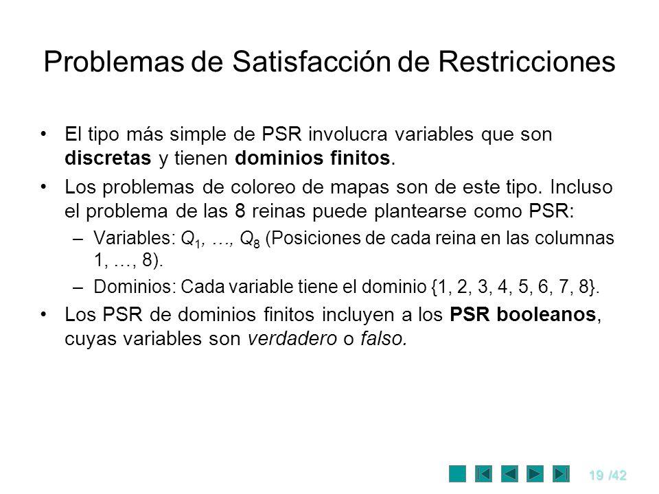 19/42 Problemas de Satisfacción de Restricciones El tipo más simple de PSR involucra variables que son discretas y tienen dominios finitos. Los proble