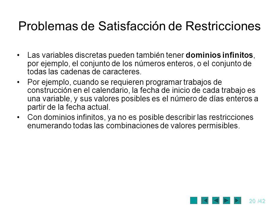 20/42 Problemas de Satisfacción de Restricciones Las variables discretas pueden también tener dominios infinitos, por ejemplo, el conjunto de los núme