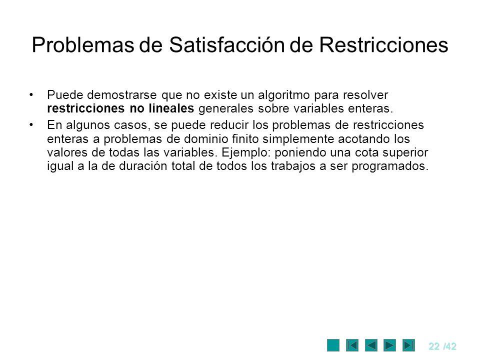 22/42 Problemas de Satisfacción de Restricciones Puede demostrarse que no existe un algoritmo para resolver restricciones no lineales generales sobre
