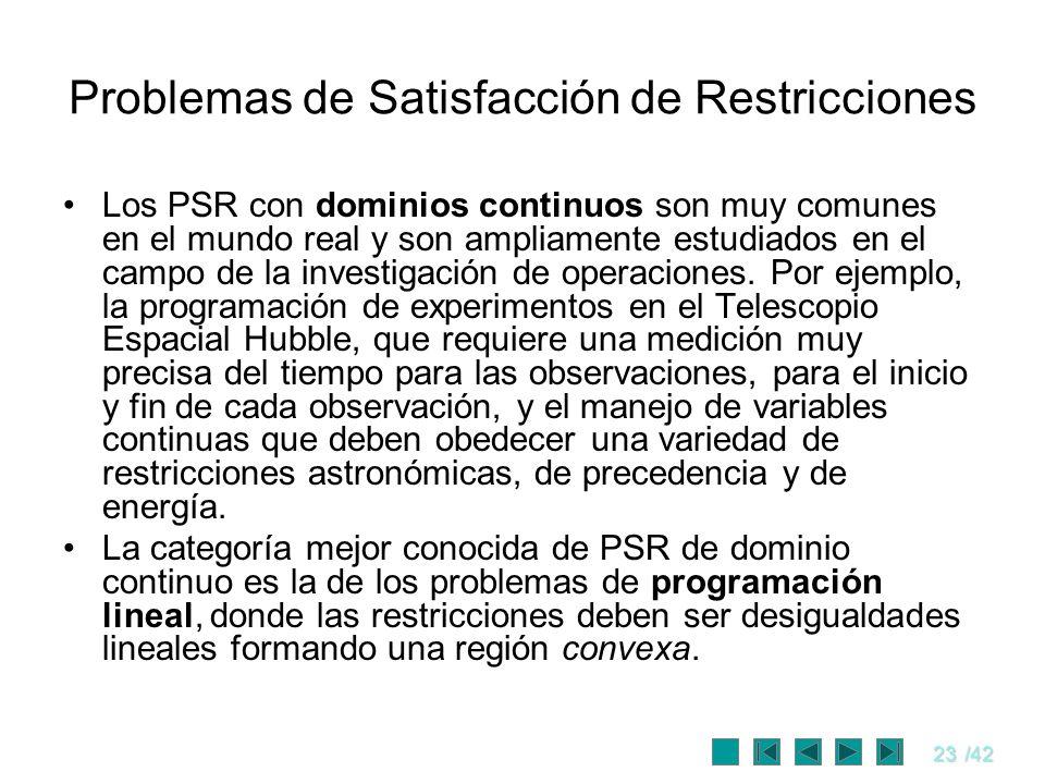 23/42 Problemas de Satisfacción de Restricciones Los PSR con dominios continuos son muy comunes en el mundo real y son ampliamente estudiados en el ca