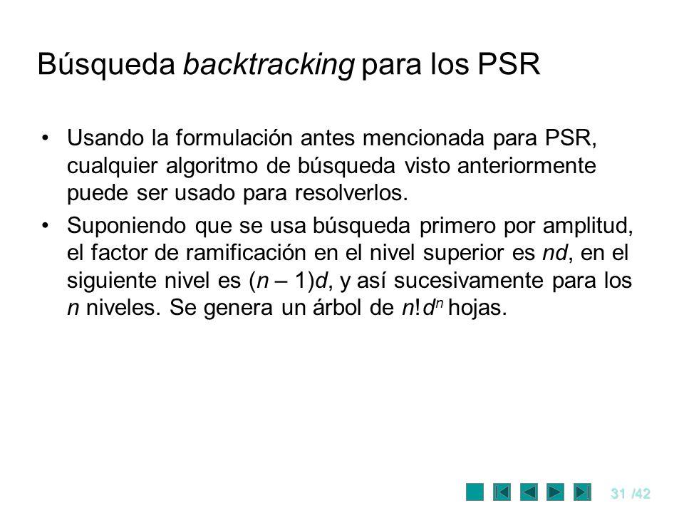 31/42 Búsqueda backtracking para los PSR Usando la formulación antes mencionada para PSR, cualquier algoritmo de búsqueda visto anteriormente puede se