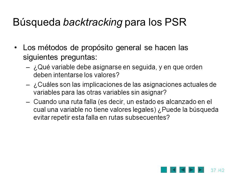 37/42 Búsqueda backtracking para los PSR Los métodos de propósito general se hacen las siguientes preguntas: –¿Qué variable debe asignarse en seguida,
