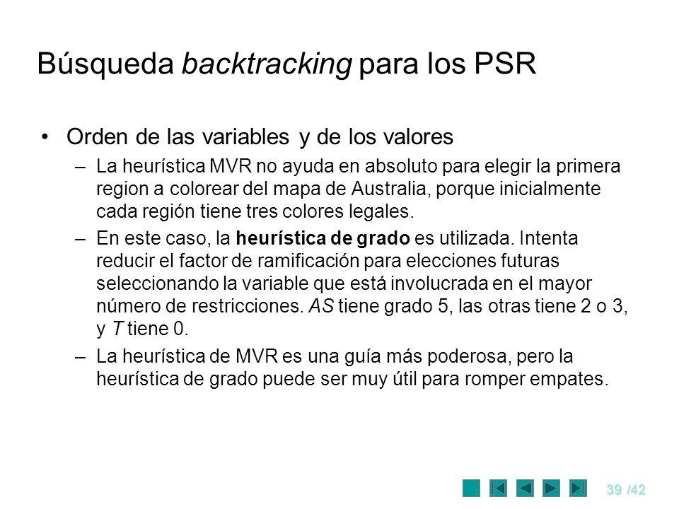 39/42 Búsqueda backtracking para los PSR Orden de las variables y de los valores –La heurística MVR no ayuda en absoluto para elegir la primera region