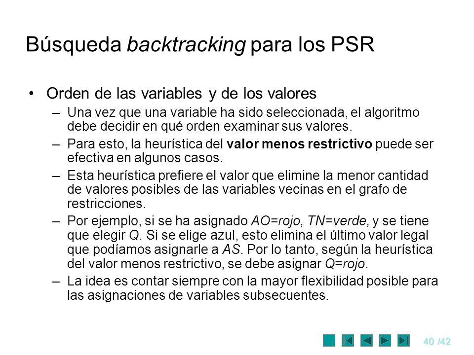 40/42 Búsqueda backtracking para los PSR Orden de las variables y de los valores –Una vez que una variable ha sido seleccionada, el algoritmo debe dec