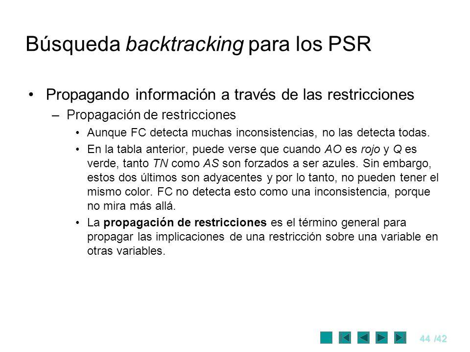 44/42 Búsqueda backtracking para los PSR Propagando información a través de las restricciones –Propagación de restricciones Aunque FC detecta muchas i