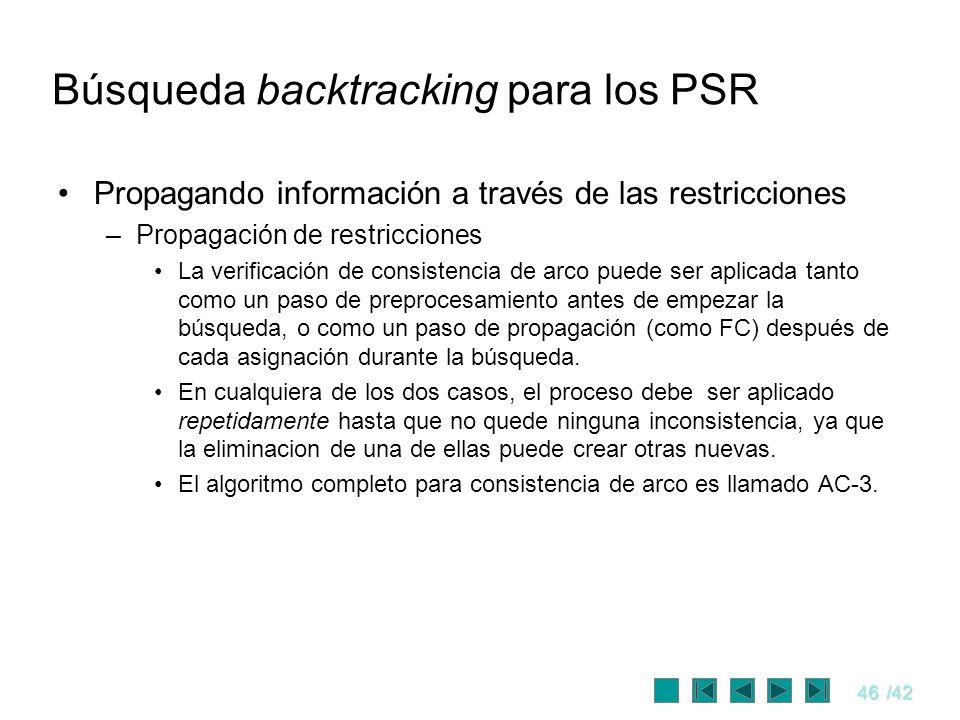 46/42 Búsqueda backtracking para los PSR Propagando información a través de las restricciones –Propagación de restricciones La verificación de consist