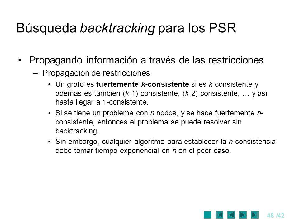 48/42 Búsqueda backtracking para los PSR Propagando información a través de las restricciones –Propagación de restricciones Un grafo es fuertemente k-