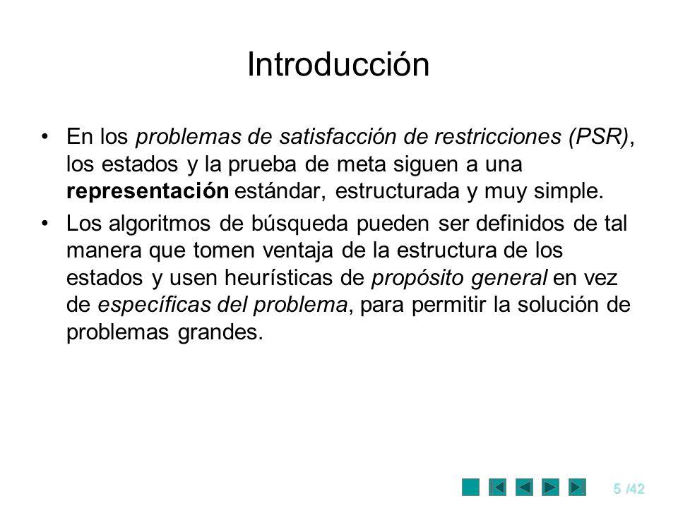 5/42 Introducción En los problemas de satisfacción de restricciones (PSR), los estados y la prueba de meta siguen a una representación estándar, estru
