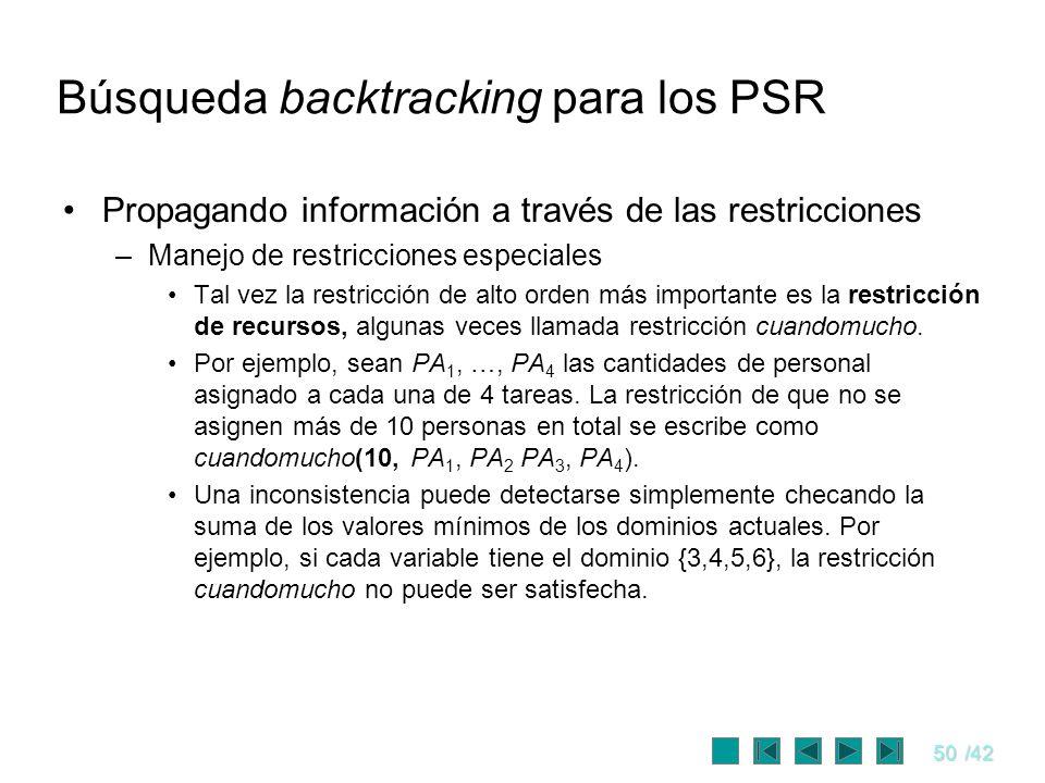 50/42 Búsqueda backtracking para los PSR Propagando información a través de las restricciones –Manejo de restricciones especiales Tal vez la restricci